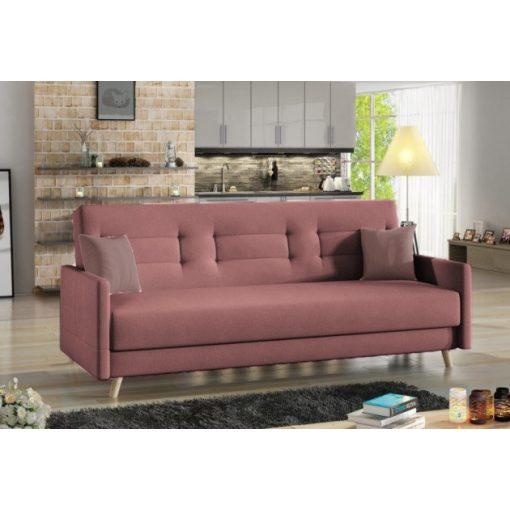 Elegáns bársony kanapé mályva színben