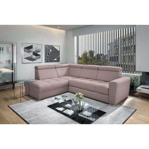 Nagykanizsa sarok ülőgarnitúra - balos 274 cm X 210 cm - rózsaszín színben