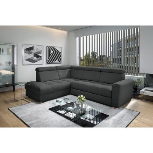 Nagykanizsa sarok ülőgarnitúra - balos 274 cm X 210 cm - fekete színben