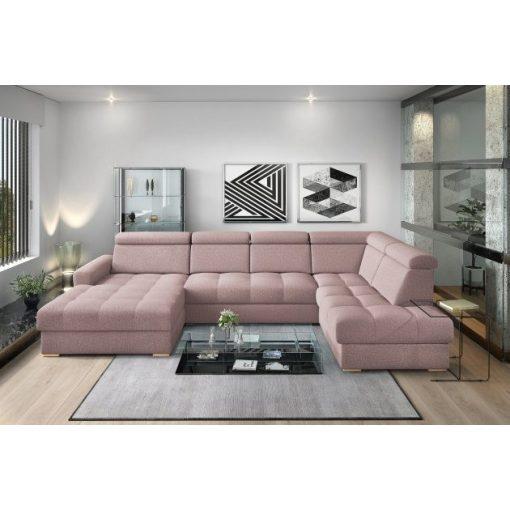 Nagykanizsa U-alakú sarok ülőgarnitúra - jobbos 189 cm X  374 cm X 210 cm - rózsaszín színben