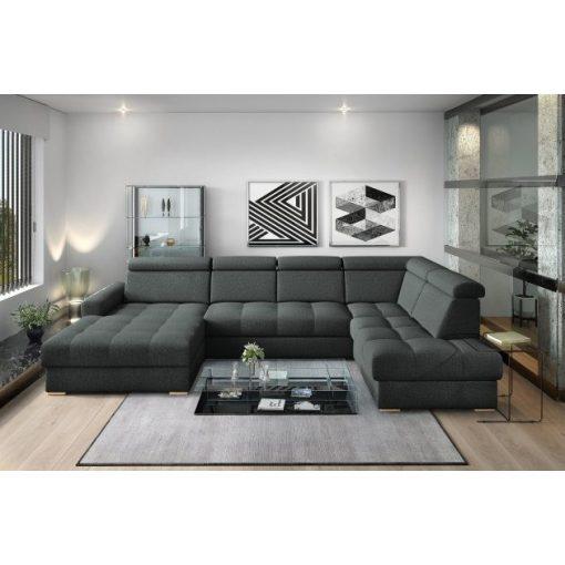 Nagykanizsa U-alakú sarok ülőgarnitúra - jobbos 189 cm X  349 cm X 210 cm - fekete színben