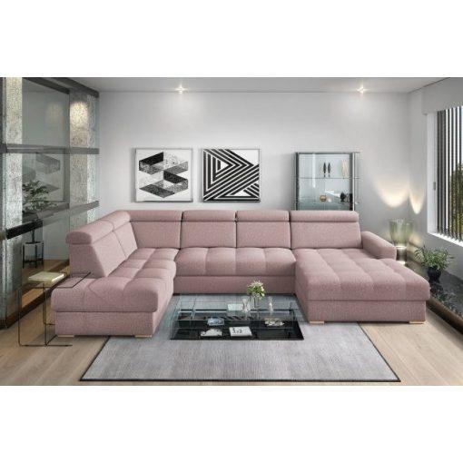 Nagykanizsa U-alakú sarok ülőgarnitúra - balos 210 cm X  374 cm X 189 cm - rózsaszín színben
